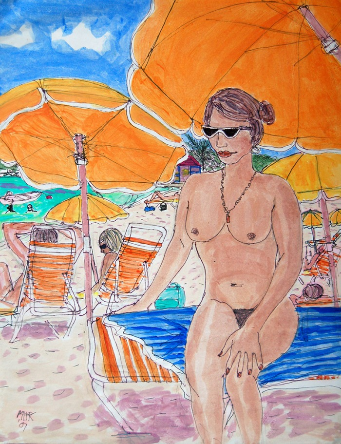 Artist Mair Pattersun's painting of St Martin In The Caribbean - on the beach