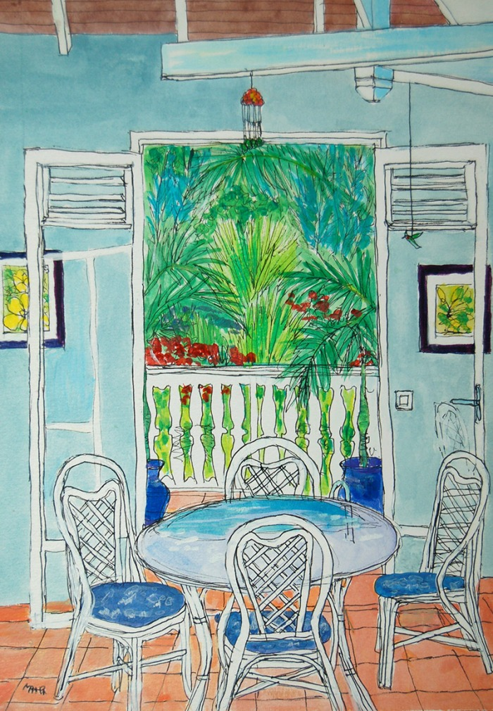 Artist Mair Pattersun's painting of St Martin In The Caribbean - patio scene