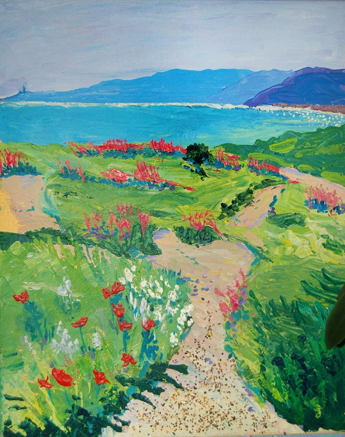 Artist Mair Pattersun's painting of the Devon hills