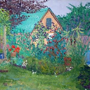 Artist Mair Pattersun's painting of a garden