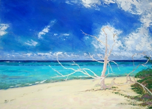 Artist Mair Pattersun's painting of St Martin In The Caribbean - Beach scene