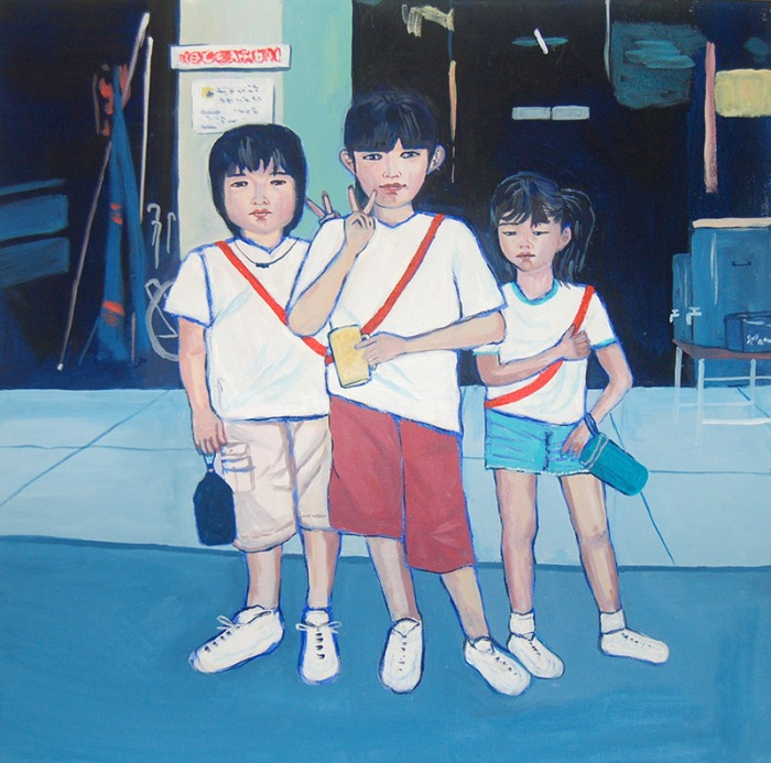 Artist Mair Pattersun's painting of a Japanese family