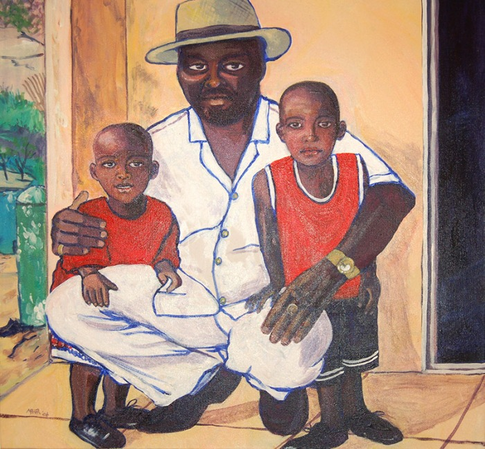 Artist Mair Pattersun's painting of St Martin In The Caribbean - family portrait