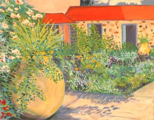 Artist Mair Pattersun's painting of St Martin In The Caribbean - garden flowers