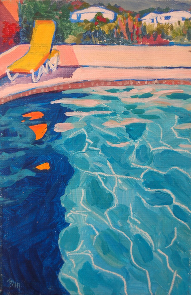 Artist Mair Pattersun's painting of St Martin In The Caribbean - By the pool