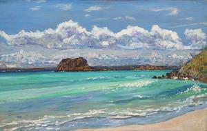 Artist Mair Pattersun's painting of St Martin In The Caribbean - Beach scene