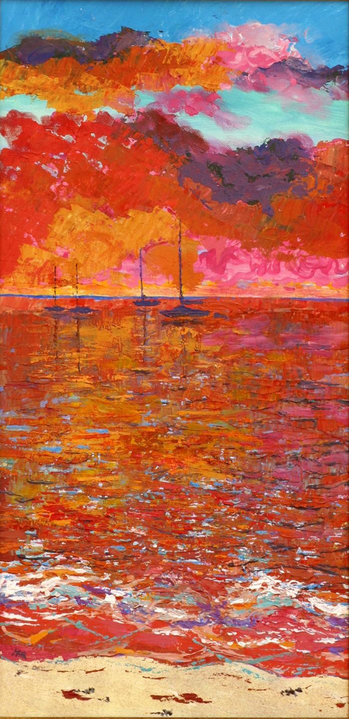 Artist Mair Pattersun's painting of St Martin In The Caribbean - Seascape
