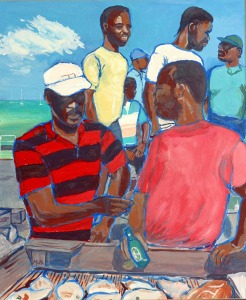 Artist Mair Pattersun's painting of St Martin In The Caribbean - Men on the beach